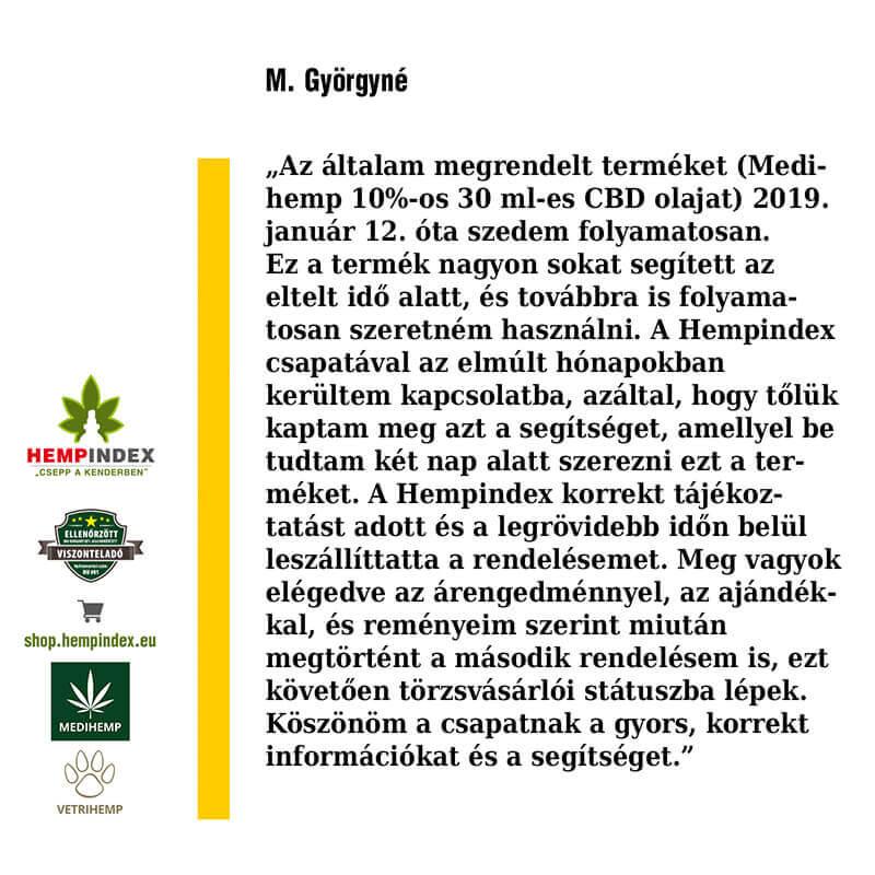 M.Györgyné 10%-os 30ml-es Medihemp olajat használ!