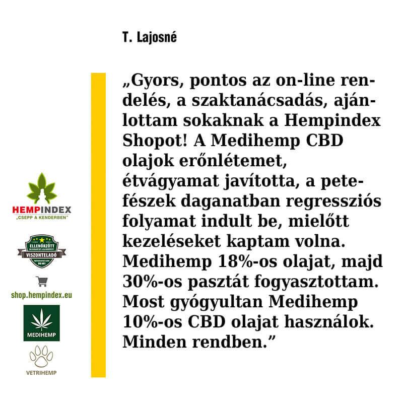 T. Lajosné Medihemp 30%-os CBD pasztát használ!
