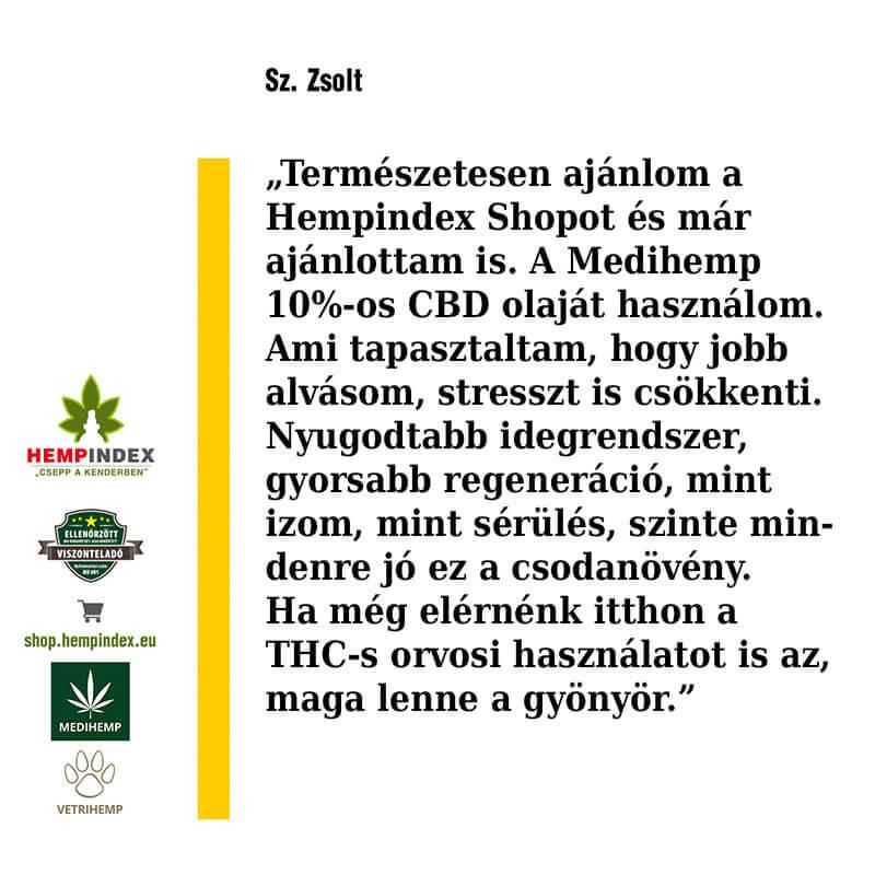 Zsolt a Medihemp 10%-os CBD olajat használja!