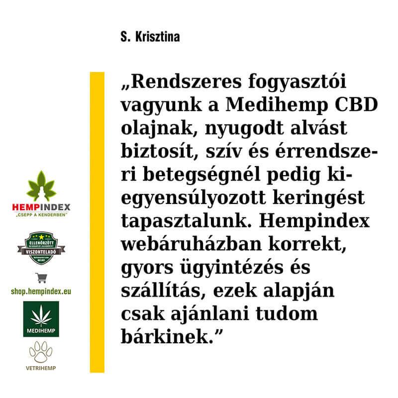 Krisztina rendszeres Medihemp CBD olaj fogyasztó!