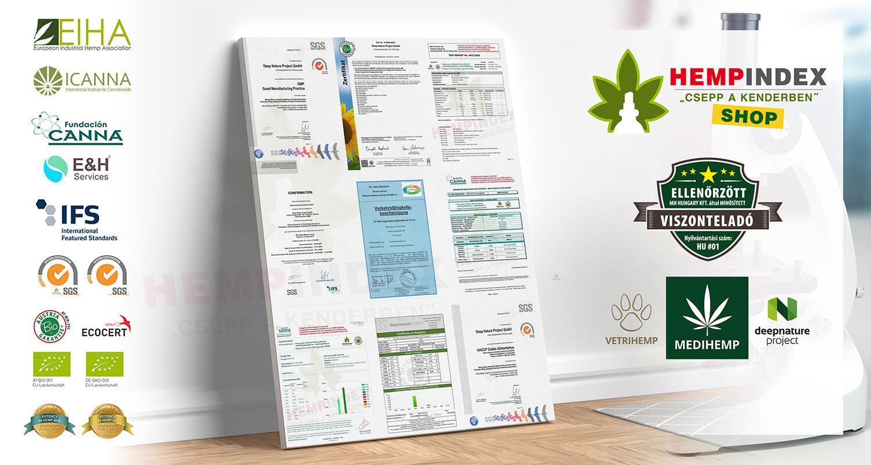A Medihemp termékek milyen tanúsítványokkal, minősítésekkel, labortesztekkel rendelkeznek?