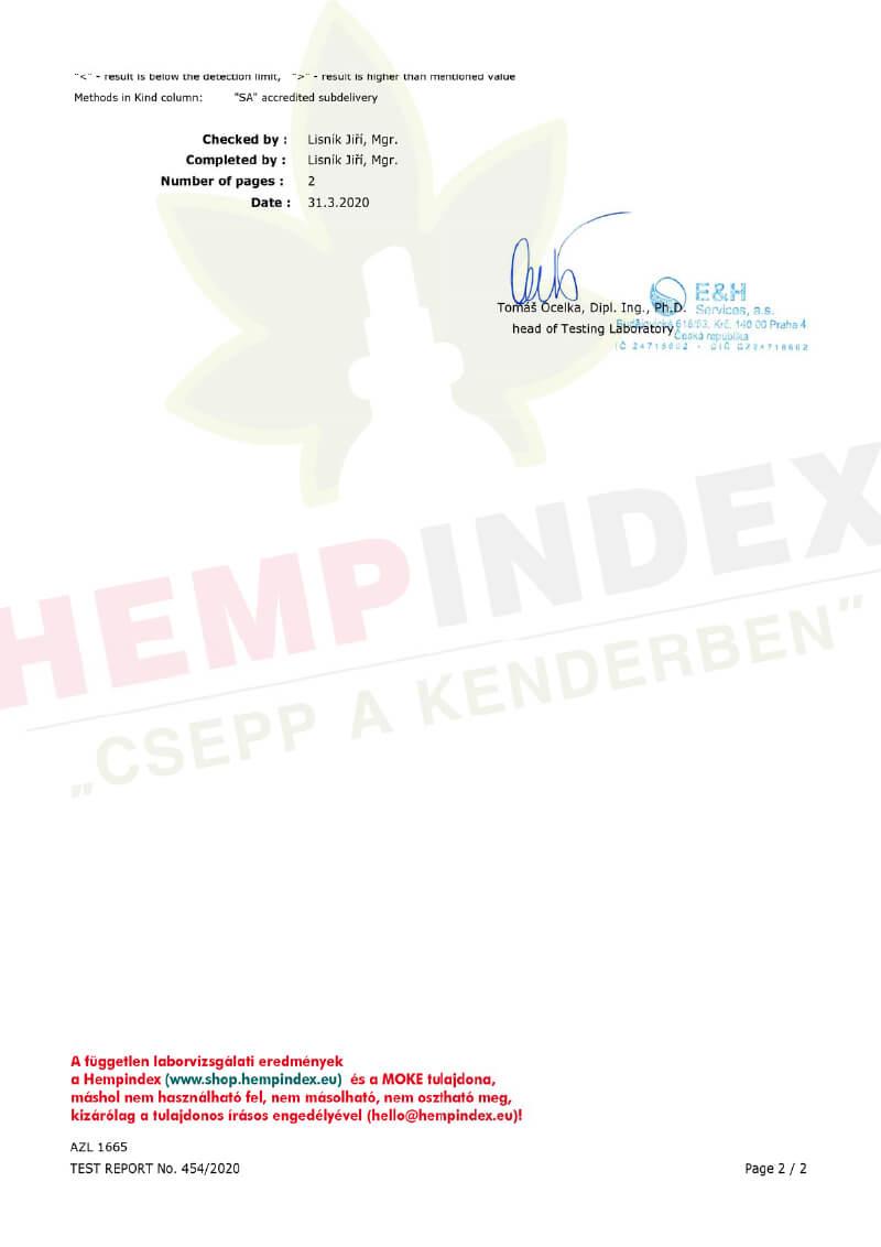 Medihemp független mikrobiológia teszt 2. oldal (Hempindex)