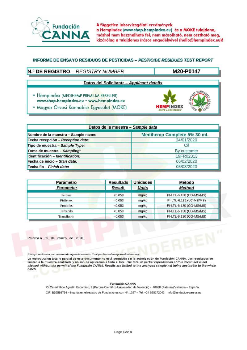 Medihemp független peszticid teszt 8. oldal (Hempindex)
